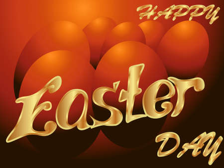 Happy Easter greeting card featuring Easter eggs and text in golden tones  イラスト・ベクター素材