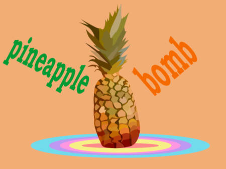 vector illustration depicting a stylized bomb pineapple for product advertising  イラスト・ベクター素材
