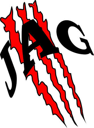 abstract pattern consisting of three red scratches and the word jag for printing on clothes or for tattoos