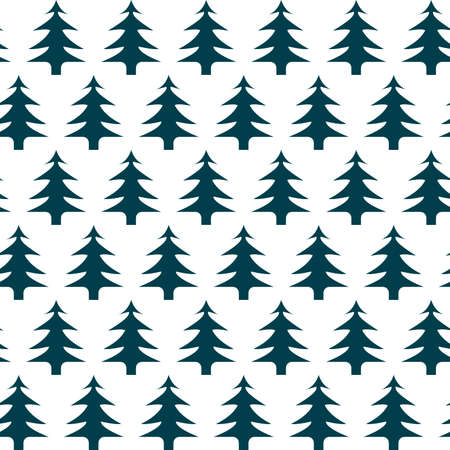 seamless pattern in the form of an ornament in the Scandinavian style of dark green Christmas trees on a white background for prints on fabric and for interior decoration