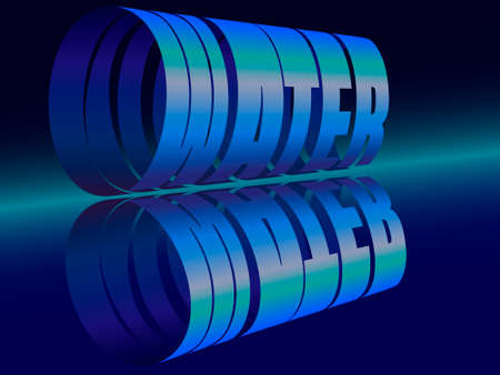 vector illustration depicting the stylized word water in the form of a cylinder in blue tones and with reflection on a mirror surface