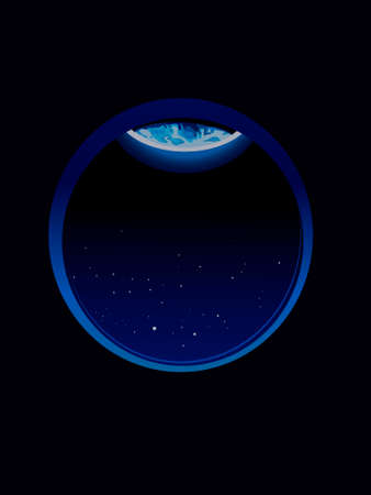 vector illustration dedicated to earth day with the image of the visible edge of the planet earth in the porthole
