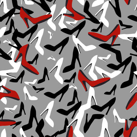 seamless vector pattern with the image of women's shoes in black white and red for the design of the interiors of retail space and for prints on fabric or packaging