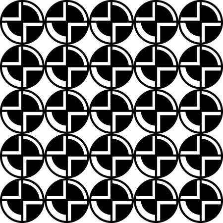 seamless black and white pattern of segments of circles for prints on fabric or packaging, as well as for interior decoration