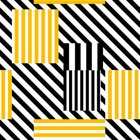 seamless pattern of sectors painted in black or yellow parallel stripes of different thicknesses, located at different angles for printing on fabric or clothing