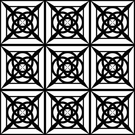 seamless black and white geometric pattern for stained glass windows, prints on fabrics or interior decorations, as well as for application on ceramics  イラスト・ベクター素材