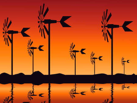 landscape depicting the evening sky in orange tones and with silhouettes of wind turbines and their reflection on the water surface, illustration for the promotion of clean energy