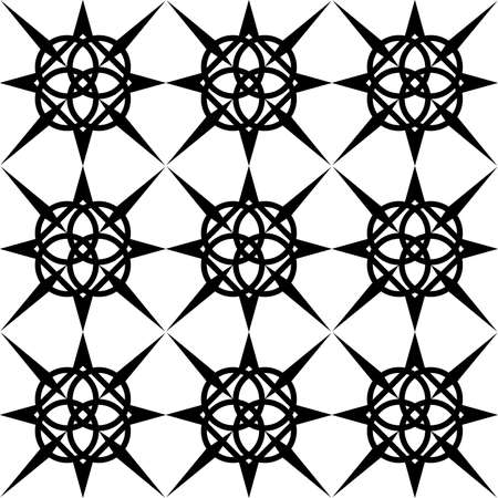 seamless black and white pattern of abstract symmetric shapes periodically repeating for prints on fabric, packaging, walls as well as for interior decoration or floor tiles  イラスト・ベクター素材