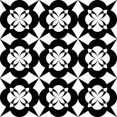 seamless black and white pattern of abstract symmetrical flower petals for printing on fabric, packaging, interior decoration or for metal lattice and ceramic tile designs  イラスト・ベクター素材