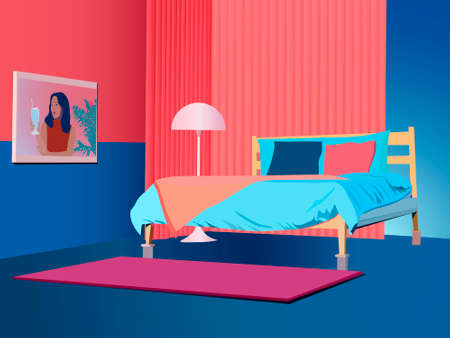 vector image of a bedroom interior with a bed, a lampshade and a painting on the wall in pink and blue tones, for illustrations and home interior decoration