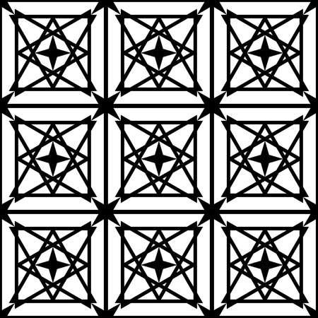 black, geometric pattern of symmetrical shapes for prints on fabrics, packaging, building tiles, as well as for interior decoration