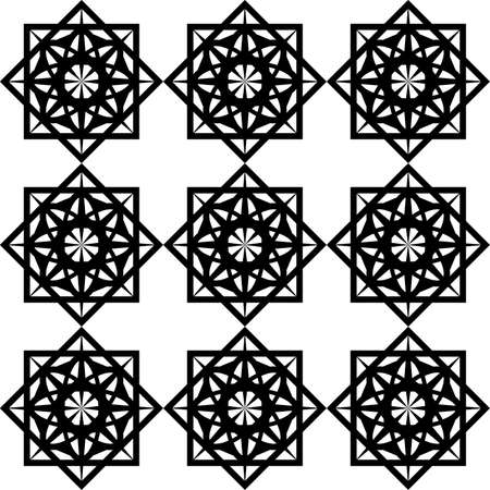 seamless black pattern of symmetrical abstract shapes in the form of a stencil mesh for printing on fabric, packaging, building tiles, as well as for interior decoration