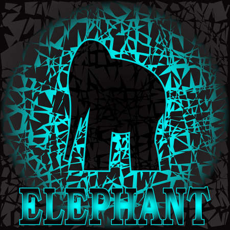 vector illustration depicting an elephant figure on a dark turquoise veined texture for  emblems, cards and as a decorative pattern  イラスト・ベクター素材