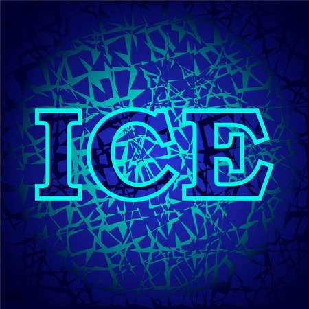 illustration depicting the word ice on a dark blue background in the form of a crystal with bright blue veins, for printing on clothes, advertising, as well as for decorating commercial premises