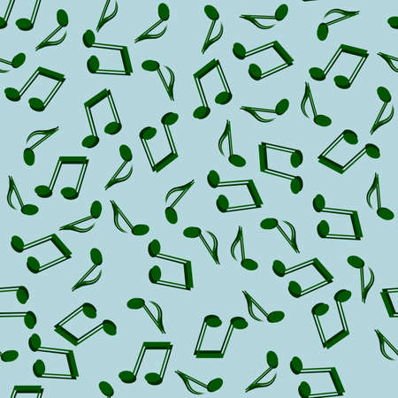 seamless abstract background of green music notes on a blue background for interior decoration, music studios and also for prints on fabric or wallpaper