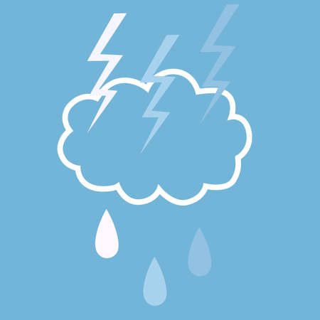 flat illustration with the image of a thundercloud and raindrops in white-blue tones for depicting weather icons and for decorating weather websites  イラスト・ベクター素材