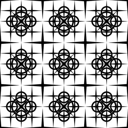 seamless abstract pattern of black color from symmetric geometric shapes in the form of an ornament for screen printing on fabric, wallpaper, packaging, as well as for interior decoration and tiles