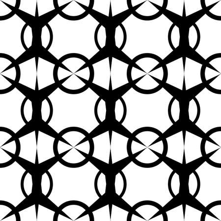 seamless abstract pattern of black color in the form of a grid of symmetric elements for printing on fabrics or for stencils of metal nets, as well as for interior decoration  イラスト・ベクター素材