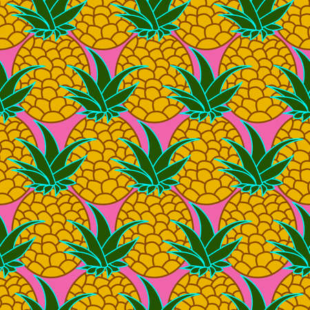 seamless abstract background with the image of pineapples on a pink background for printing on fabric, packaging and wallpaper, as well as for room decoration