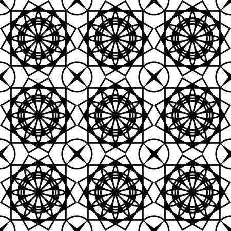 seamless black pattern in the form of a geometrically symmetrical mesh for screen printing on fabric, packaging, as well as for interior decoration