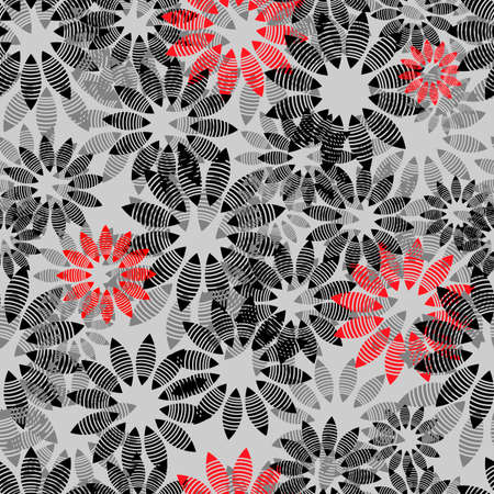 abstract seamless pattern depicting shapes in the form of stylized flowers in gray-black shades and with a touch of red, for prints on fabrics, packaging and also for interior decoration