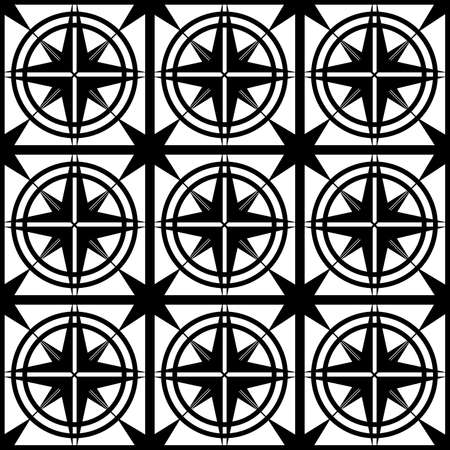 abstract seamless pattern of black color from geometric symmetric shapes in the form of a grid with an ornament for stencils when printing on fabric, packaging or glass, as well as for interiors  イラスト・ベクター素材