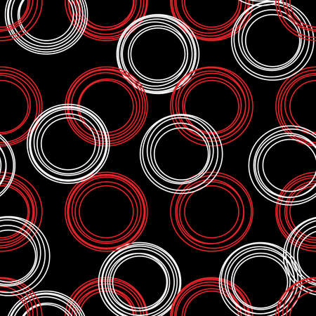abstract seamless pattern of groups of eccentric circles in red and white on a black background for prints on fabric or clothing and for wall decoration  イラスト・ベクター素材