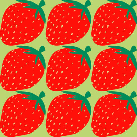 seamless pattern with the image of strawberries on a light green background for the design of interiors of commercial premises and kitchens, as well as for prints on fabric and packaging