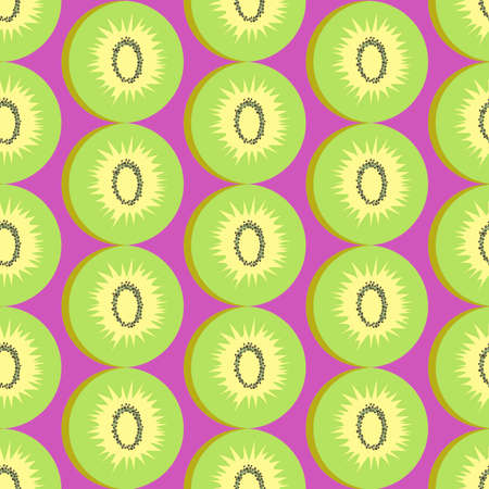 abstract seamless pattern consisting of images of kiwi fruits on a pink background for prints on fabrics and packaging or for interior decoration of kitchens and retail outlets