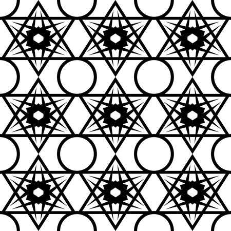 abstract seamless pattern in black with the image of an ornament in the form of a lattice of geometrically symmetric hexagonal stars for prints on fabric, glass, packaging and also for interior decora
