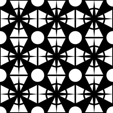 abstract seamless pattern of black color in the form of a grid with a geometric symmetric ornament for prints on fabric, packaging, glass and also for interior decoration