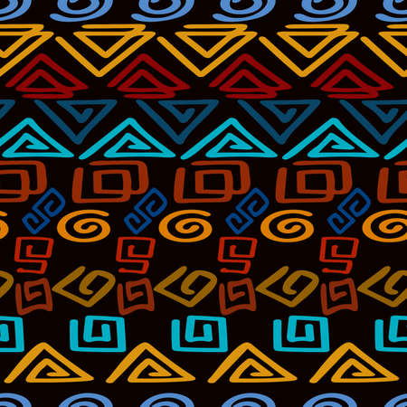 seamless pattern of figures in the form of a horizontally directed ornament of scrawl for prints on fabrics, clothing, packaging, ceramics and for interior decoration, cups, covers, postcards