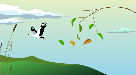 submitting: Stork and submitting leaves on an autumn background