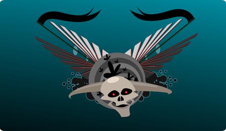 Vector illustration of horned skull Vector