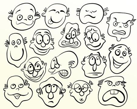 Cara de dibujos animados. Arte de la emoción de bosquejo Ilustración de vector