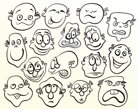 face expression: Cartoon face. Doodle emotion art