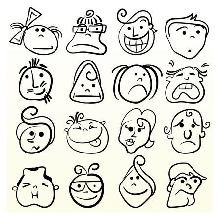 cartoon faces: Doodle emotion art