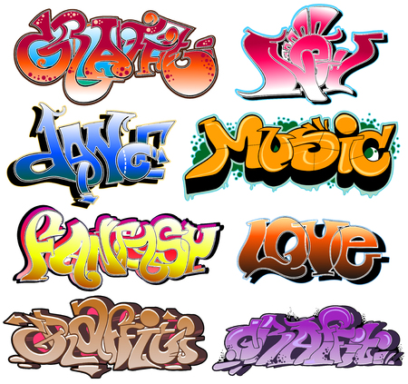 Graffiti. Hip-hop urban collection. Vector