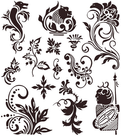 Flores. Ornament collection and vintage decoration elements. Stock Vector - 6528097