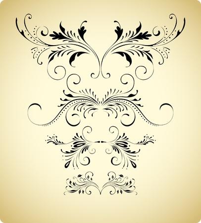 antique floral borders Vector