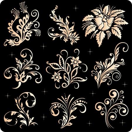 Vintage floral elements, ornament frames and gold flourishes  Illustration
