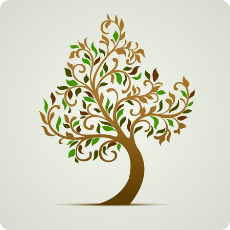leafage: Tree icon abstract illustration