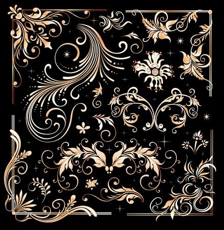 with sets of elements: Vintage floral elements, ornament frames and gold flourishes  Illustration
