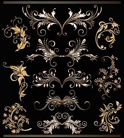 ornament vector elements, vintage gold floral designs Stock Vector - 10502564