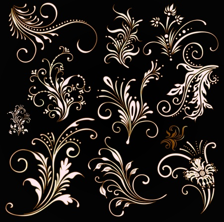 victorian fashion: ornament vector elements, vintage gold floral designs  Illustration