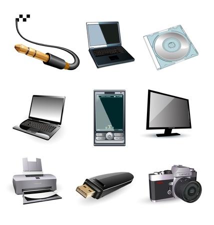 icono computadora: Vector de iconos de equipo electrónico: tv, impresora, portátil, foto  Vectores