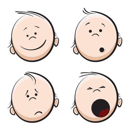 sentimientos y emociones: cara de beb�  Vectores