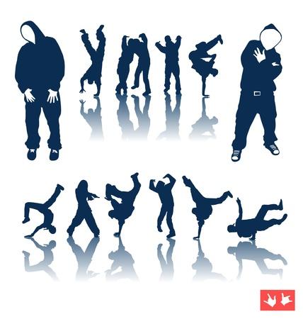 hip hop dance pose: Versi�n de mapa de bits. Colecci�n de silueta de hip-hop