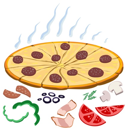 pizza ingredients: Pizza and ingredients Illustration