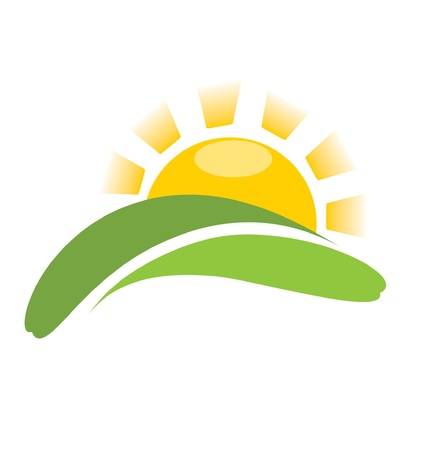 sun: sunrise vector, sun icon on field  Illustration